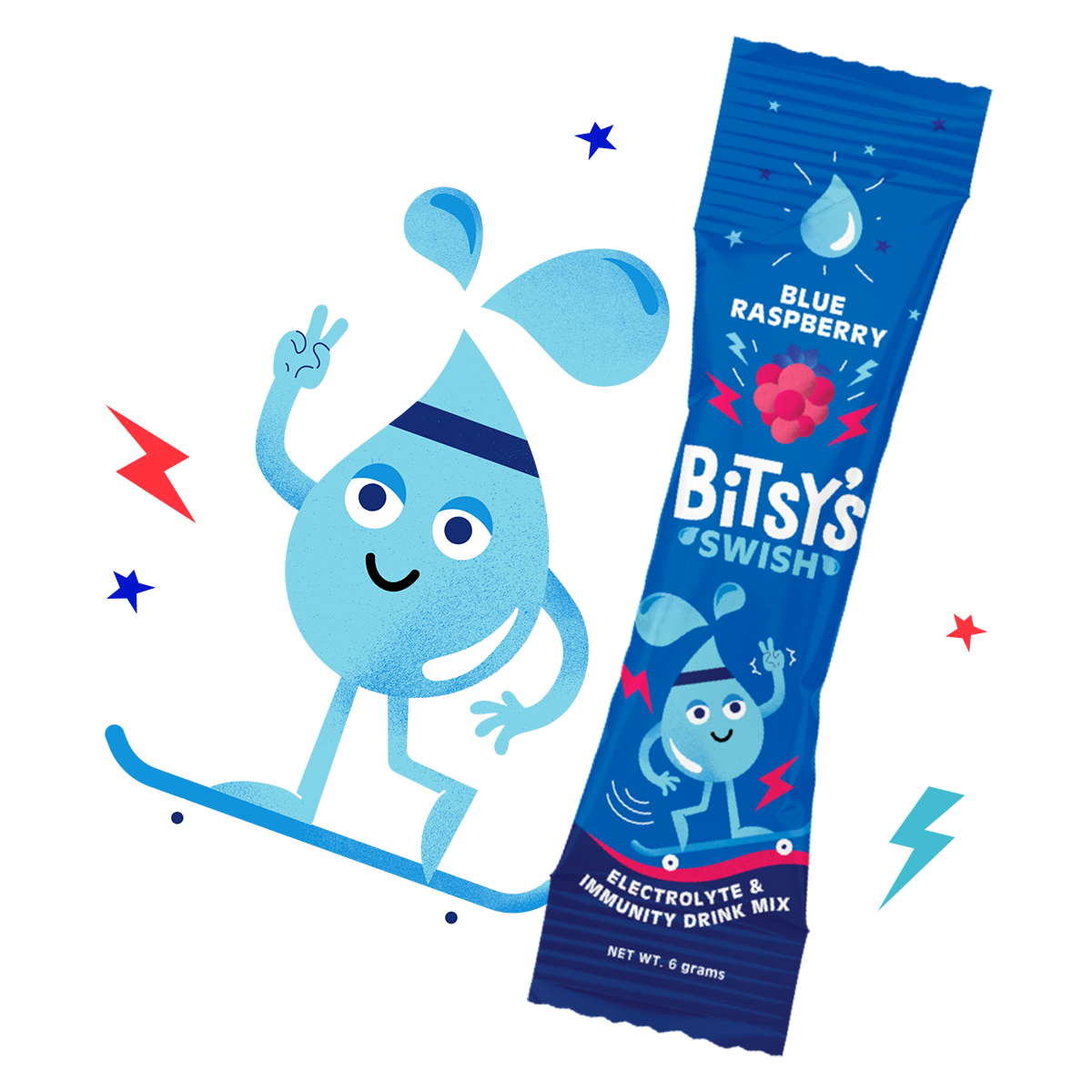 Bitsy's Blue Raspberry Swish character and packet