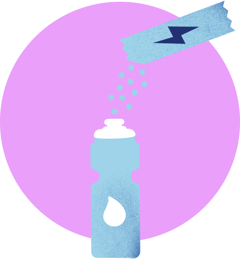 Illustration of pouring Bitsy's Swish packet into water bottle