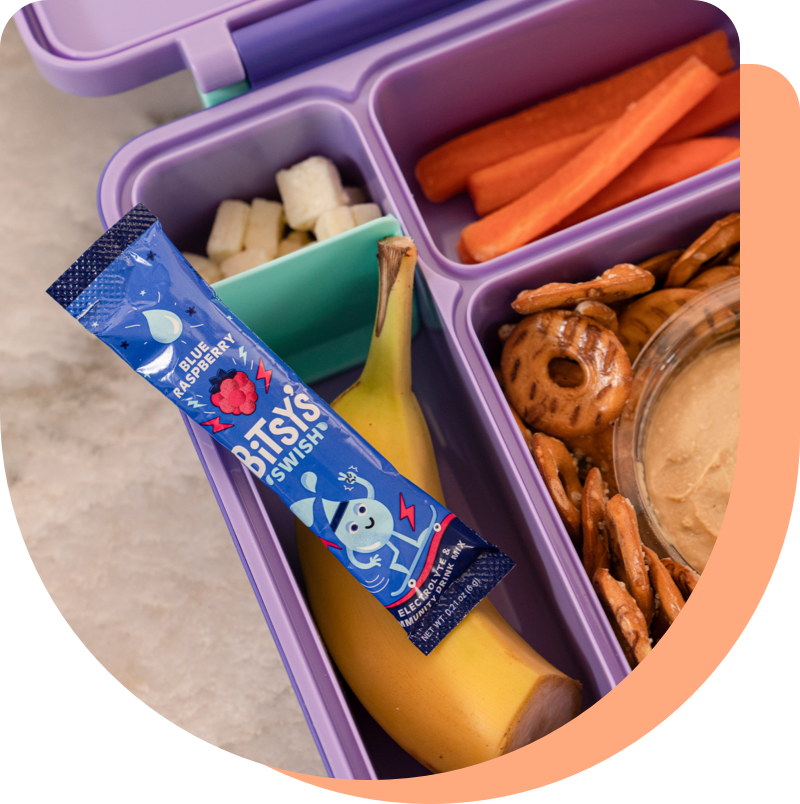 Photo of Bitsy's Swish packet in a lunchbox