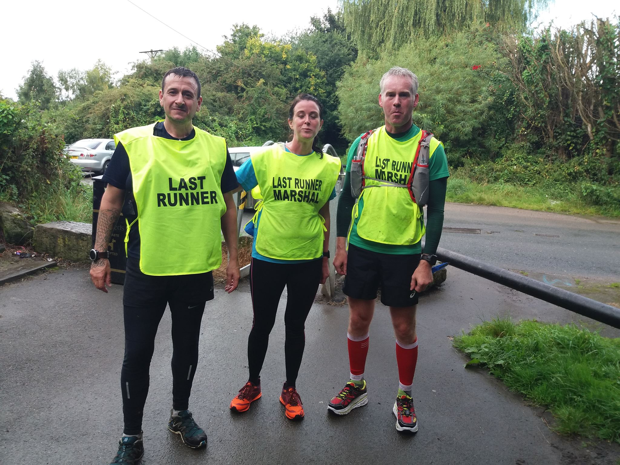 3 Race Marshal's at a Punk Panther endurance event all wearing green high visiblity vests.