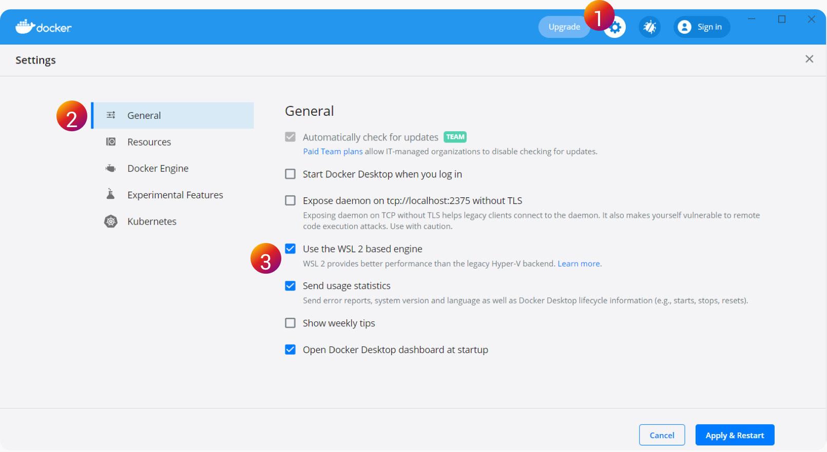 Screenshot of Resources tab in Docker