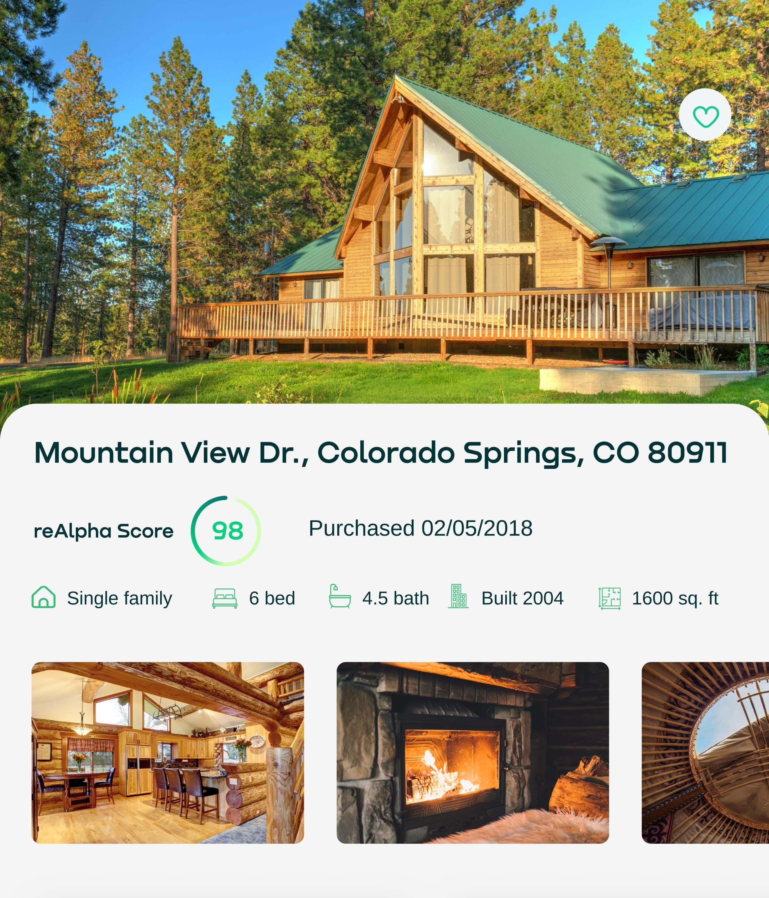 Mountain View Dr., Colorado Springs, CO 80911. ReAlpha score: 98