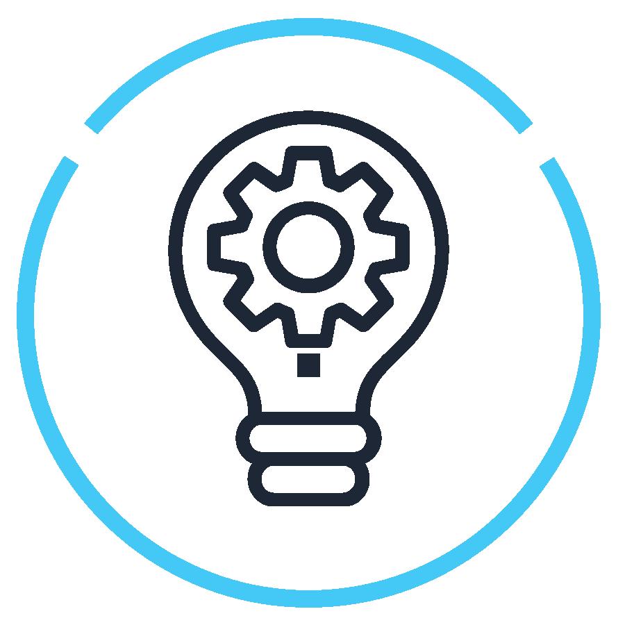 Icon - lightbulb with gear inside