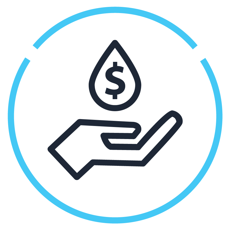Icon - dollar sign in water drop falling on hand