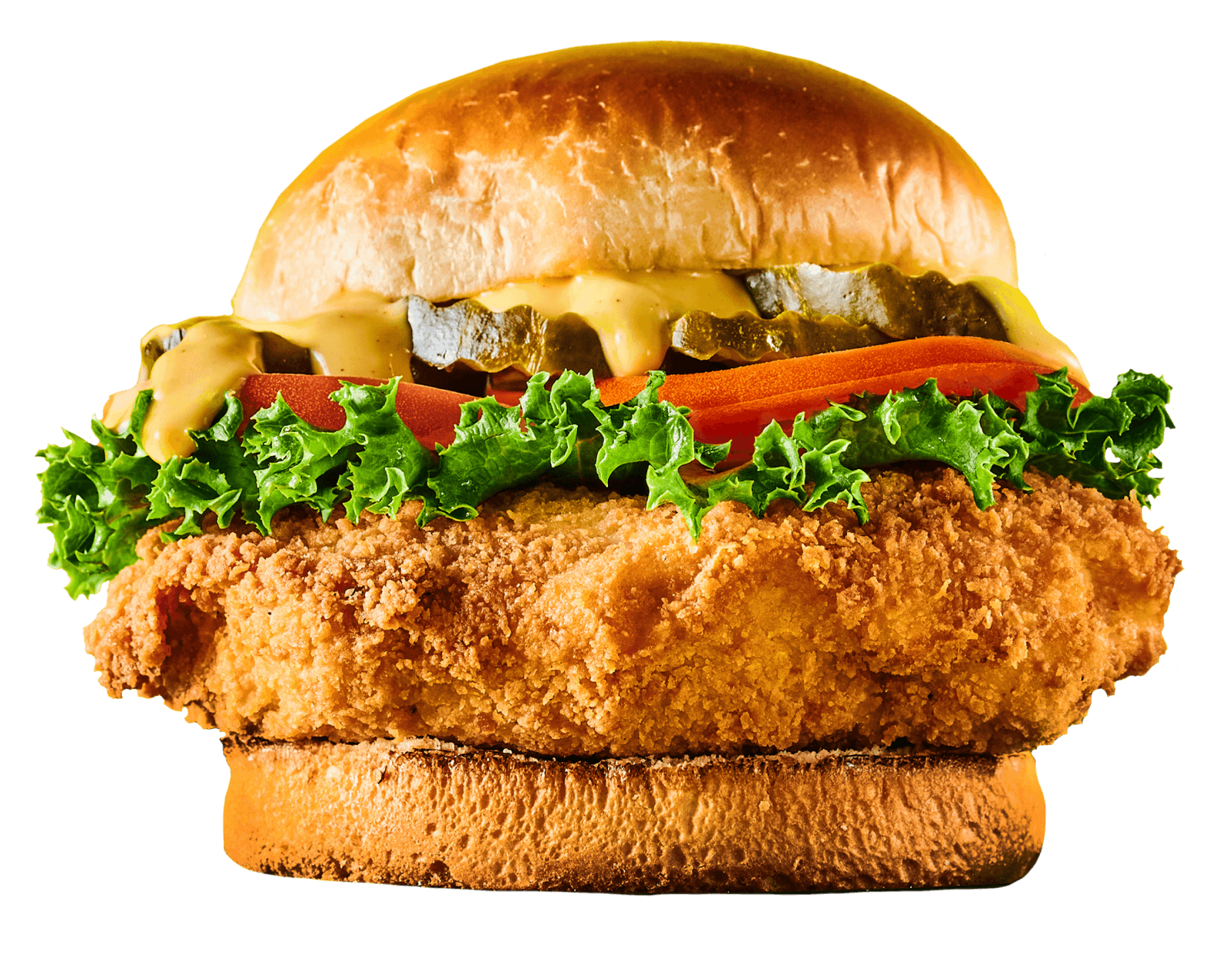 BLAZED OG FRIED CHICKEN SANDWICH - Spicy battered fried chicken topped with fresh lettuce, sliced tomato, bread & butter pickles, and honey mustard on a fat brioche bun --- by HotBox by Wiz Khalifa