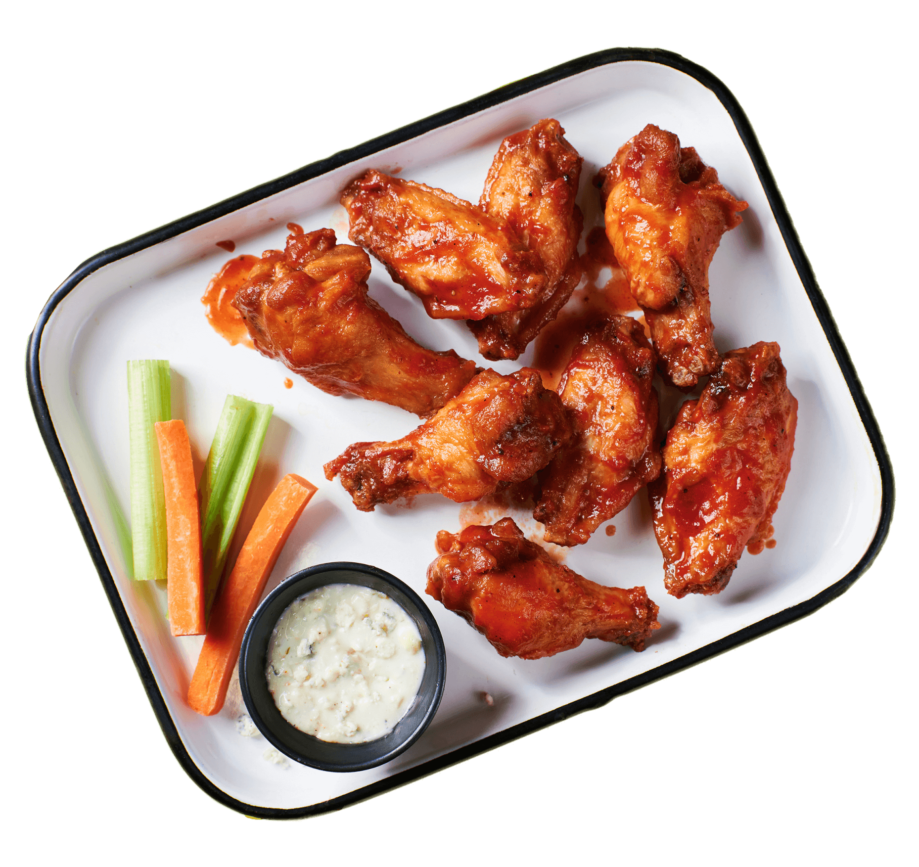 EVEN BIGGER BLAZIER BUFFALO WINGS - A hefty portion (15 count) of our spicy, juicy, meaty, tender and saucy buffalo wings, served with your choice of ranch or blue cheese, and crunchy celery and carrots for dipping --- by HotBox by Wiz Khalifa
