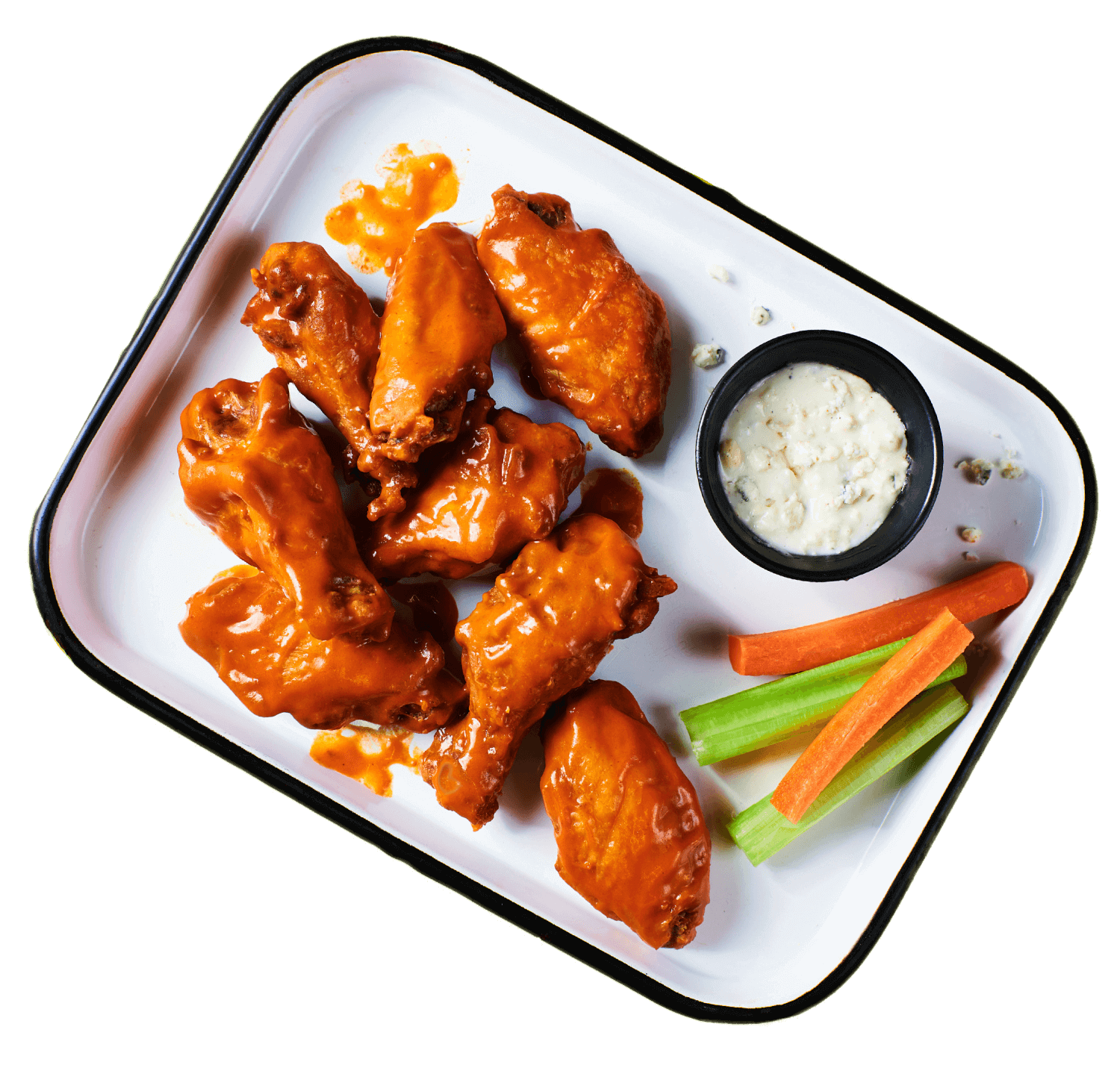 EVEN BIGGER BETTER BUFFALO WINGS - A hefty portion (15 count) of our big, juicy, meaty, tender and saucy buffalo wings, served with your choice of ranch or blue cheese, and crunchy celery and carrots for dipping --- by HotBox by Wiz Khalifa