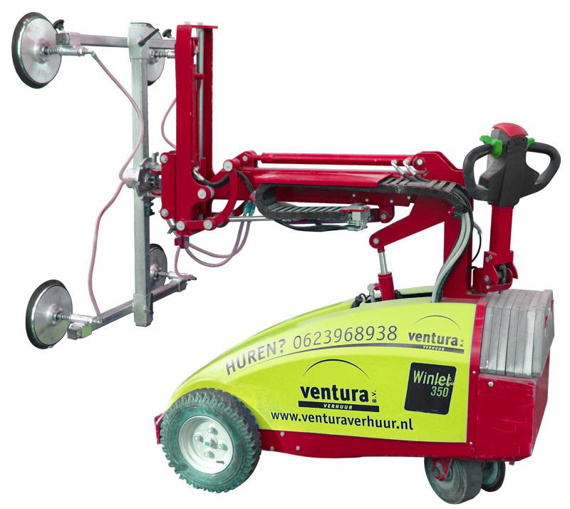 Winlet 350 glasrobot kan zonder moeite glas tot 350 kg optillen. Huur de glasrobot bij Ventura Verhuur.