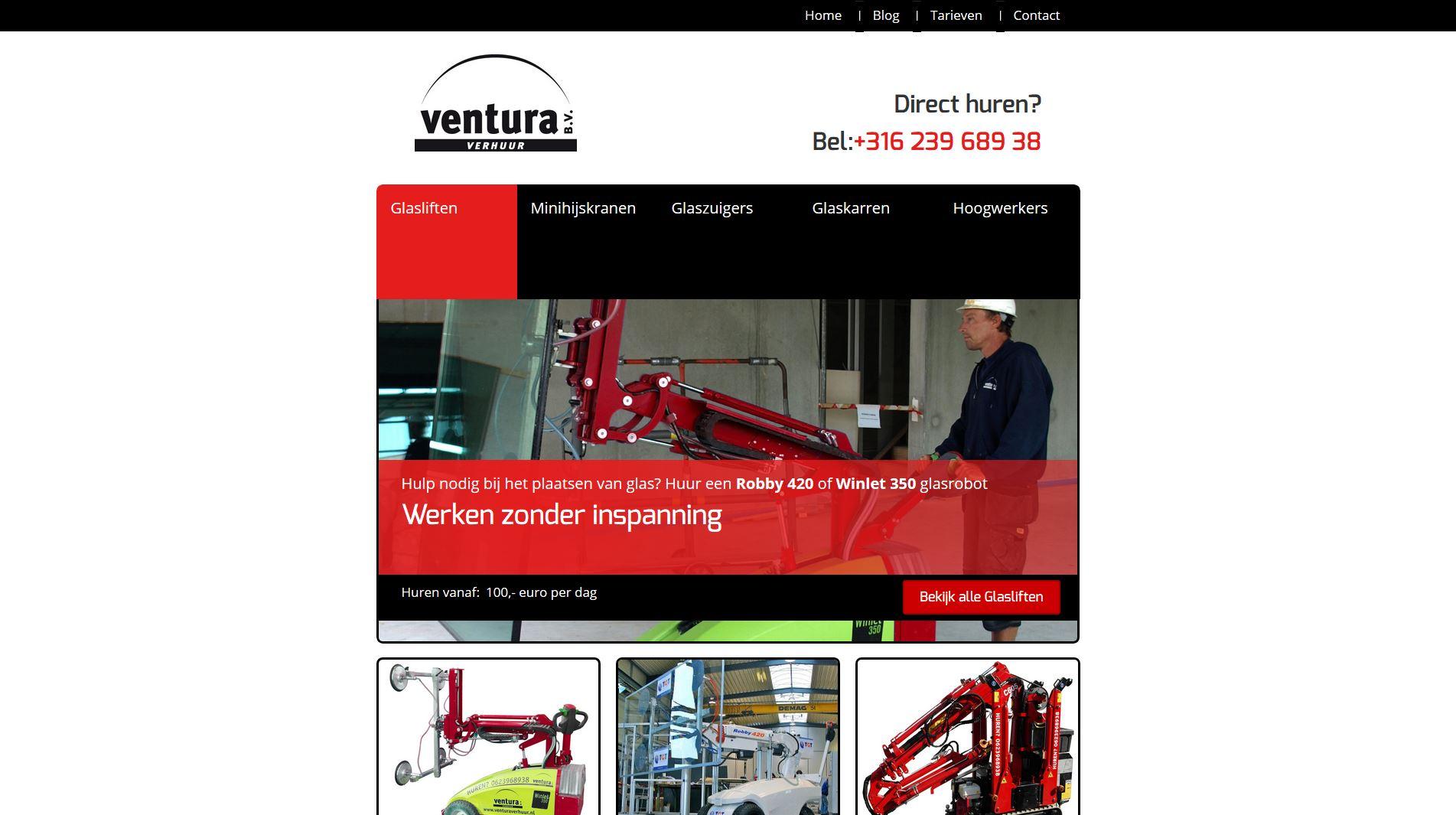Ventura Verhuur - Nieuwe website met een overzicht van alle glas - en gevelmontage producten online