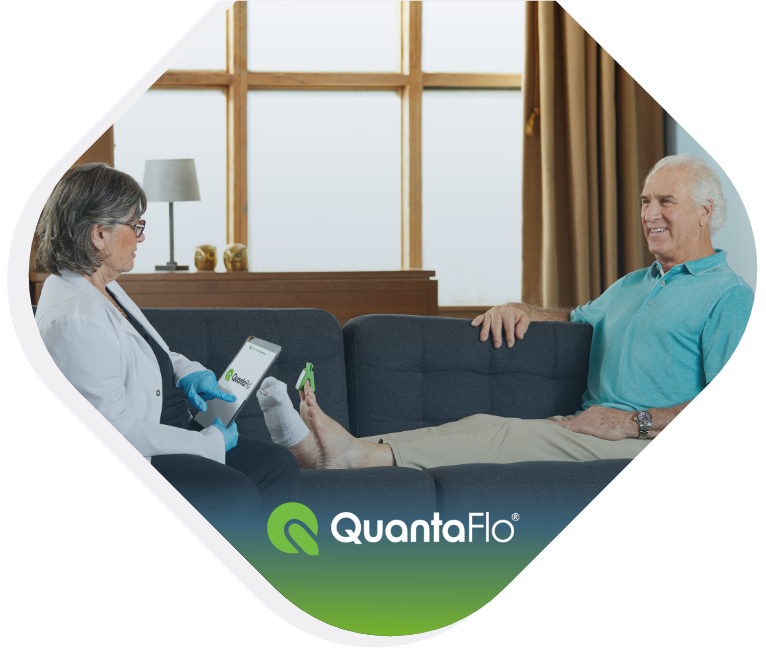 QuantaFlo Peripheral Arterial Disease (PAD) test being conducted in home setting.