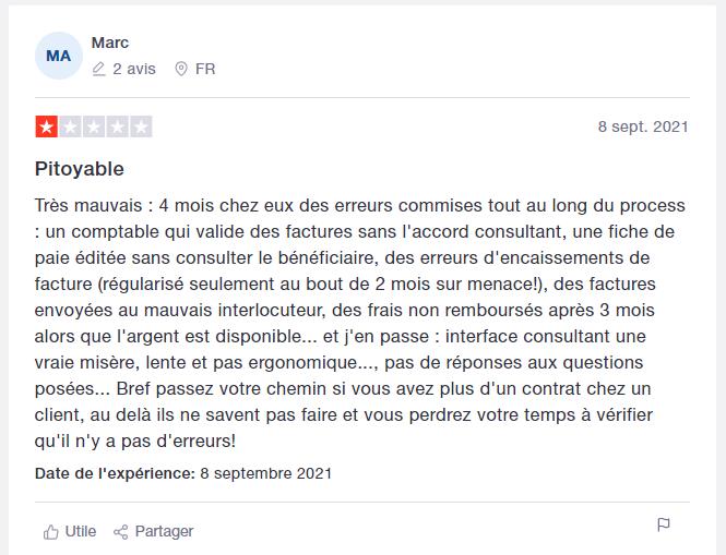 Capture d'écran d'un avis sur une société de portage posté sur Trustpilot