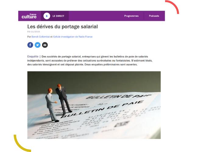 Un article de France Culture dénoncant les abus perpétrés par des entreprises de portage salarial