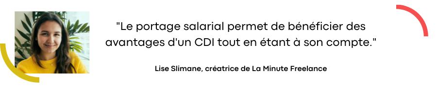 L'avis de Lise Slimane sur le portage salarial