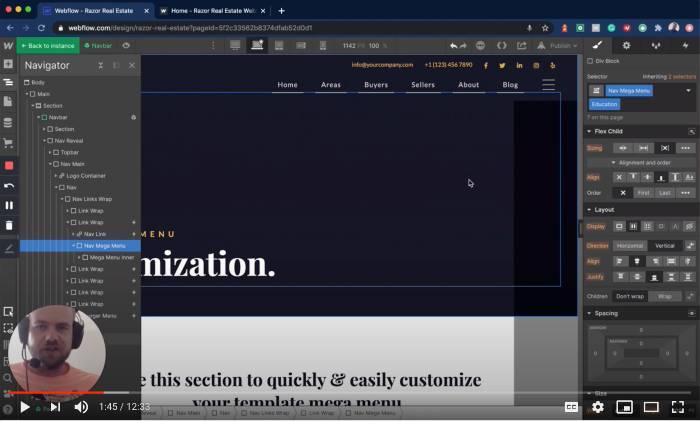 Editing the mega menu