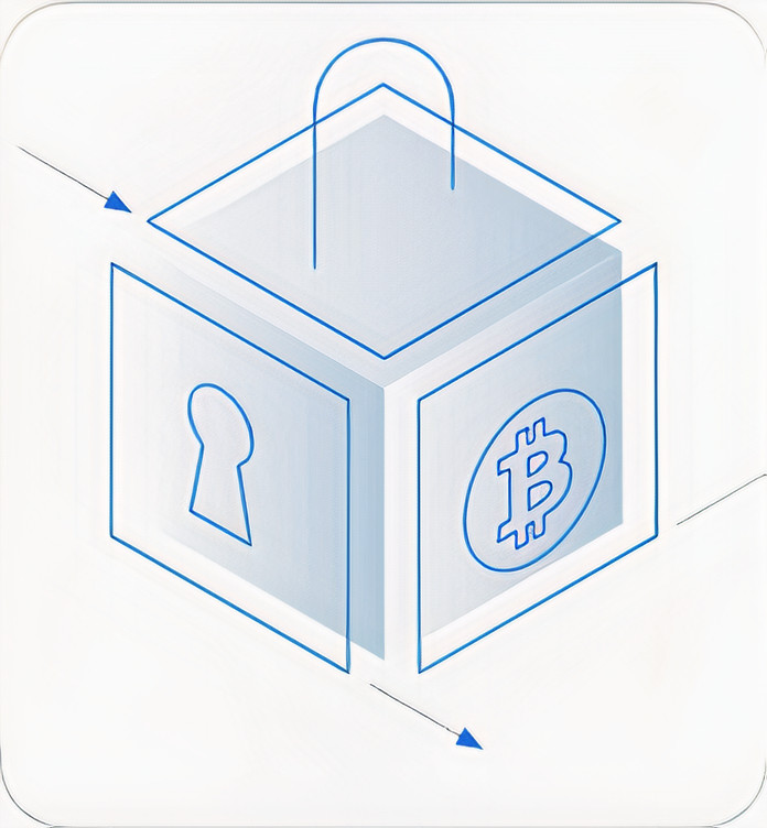 This is an image of a lock and bitcoin logo.
