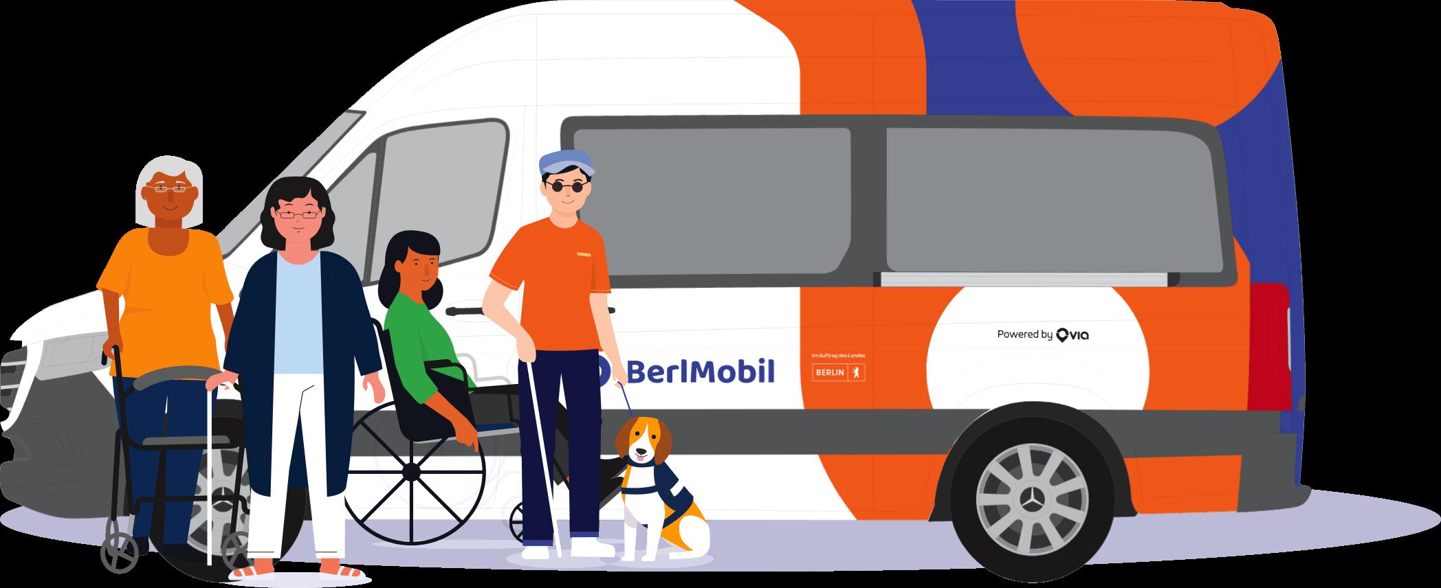 Eine Illustration, die eine Gruppe von Menschen vor dem BerlMobil darstellt