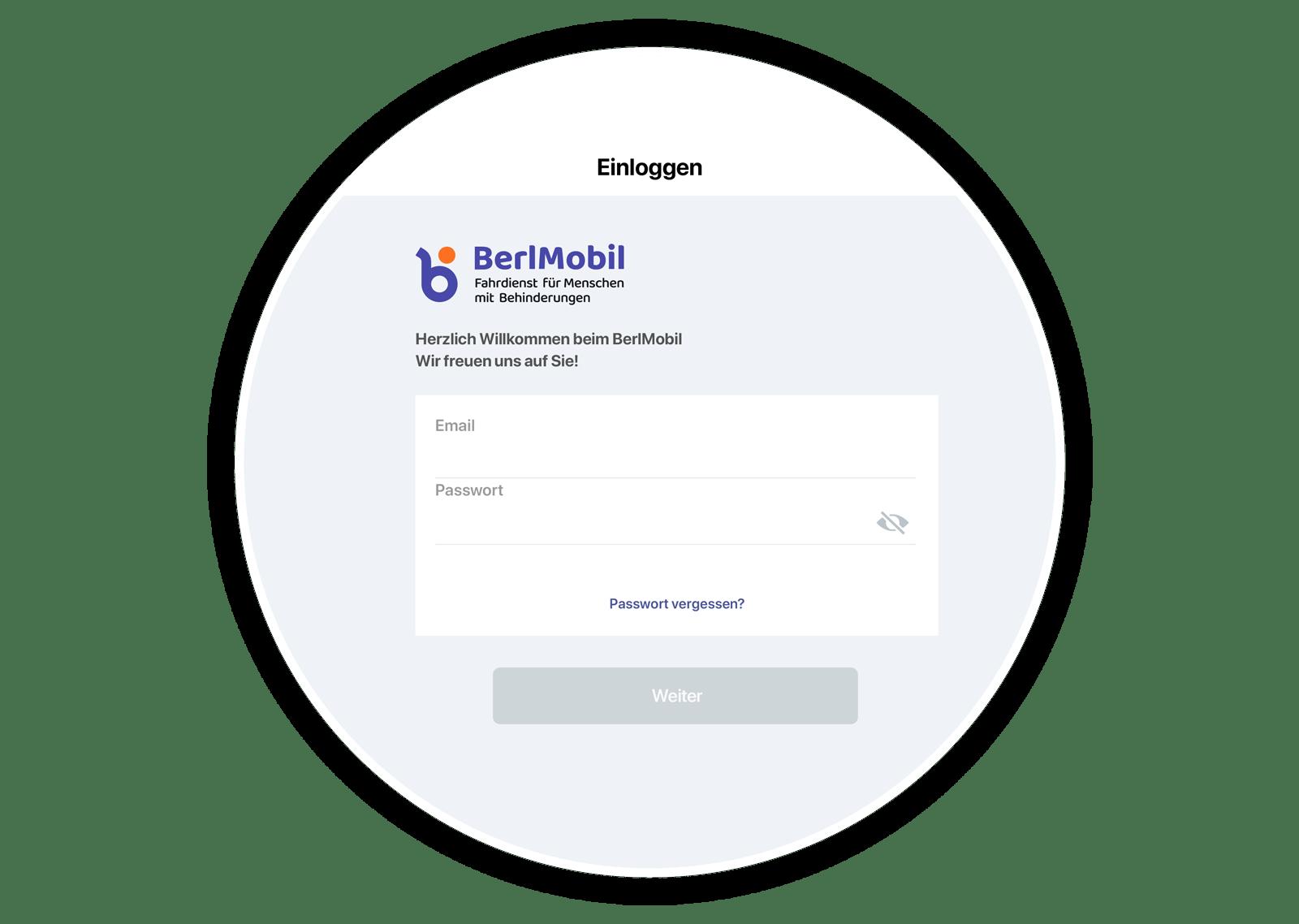 Ein Screenshot von dem Login Screen der BerlMobil Web-App