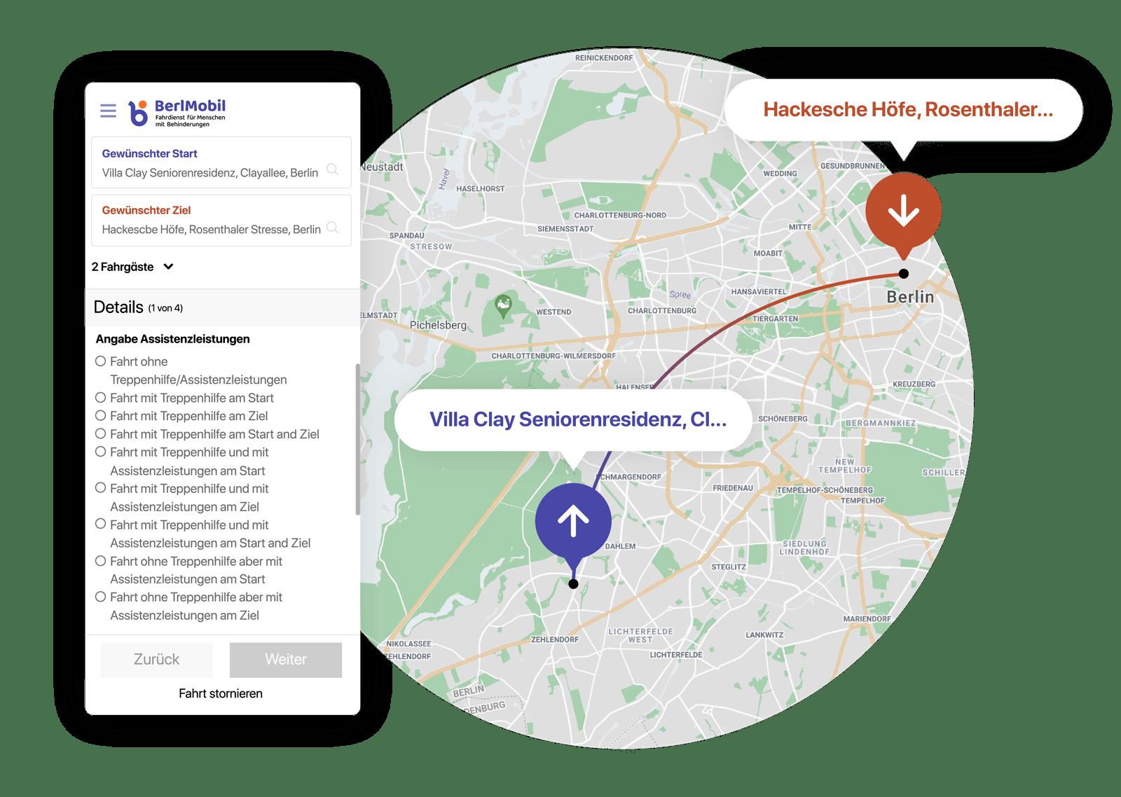 Ein Screenshot von dem Formular der BerlMobil Web-App