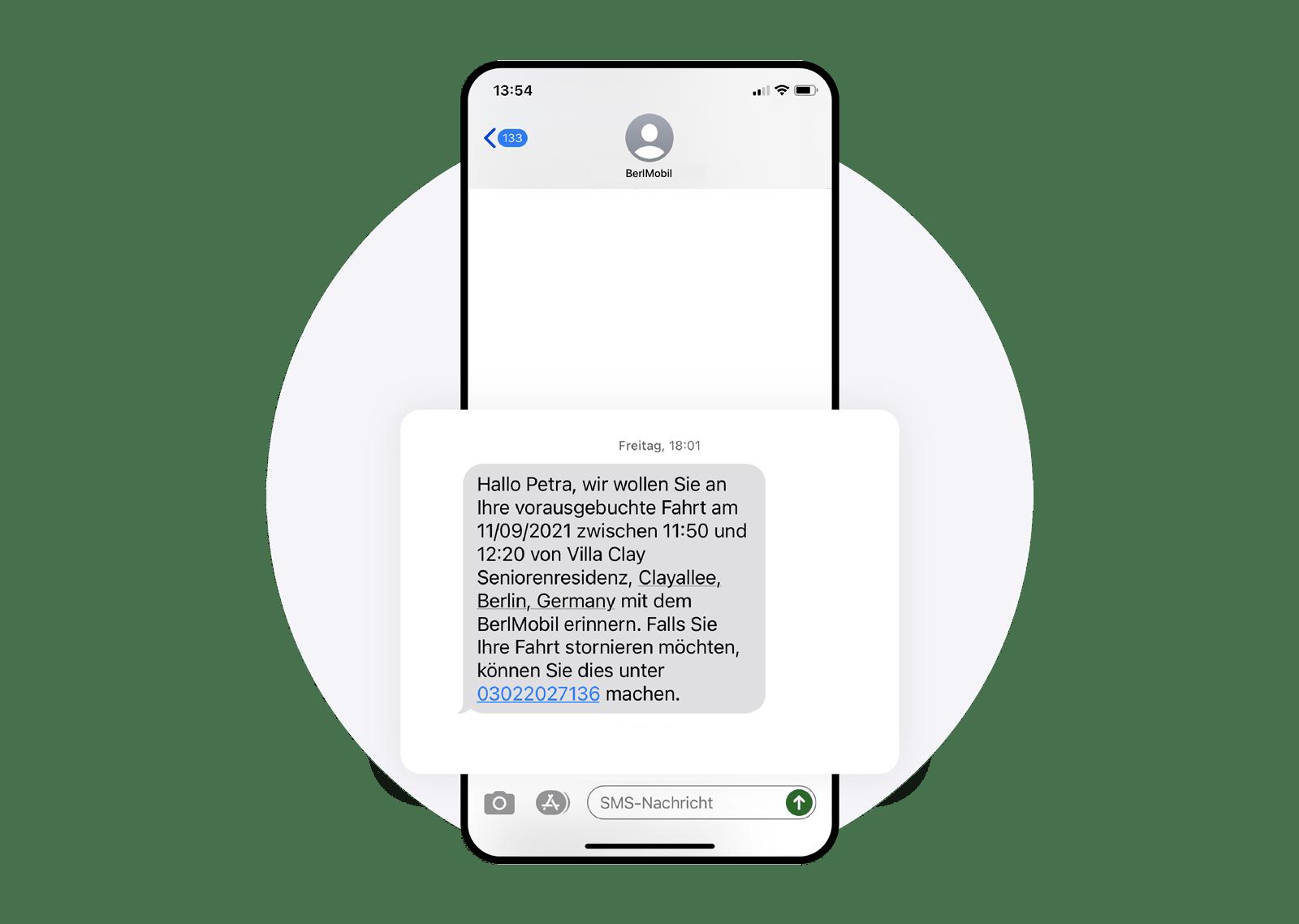 Ein Screenshot von einer SMS von BerlMobil über die Fahrtbestätigung