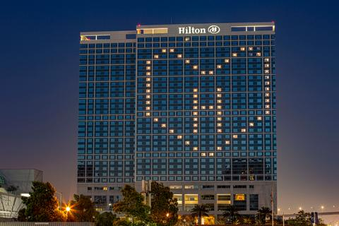 Hilton building with love heart lights