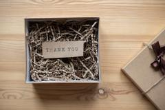 Gift box with the words thank you inside on paper