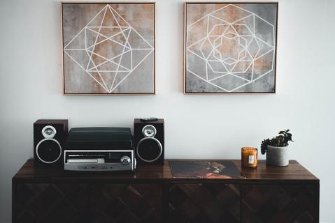 Music speakers on a side table