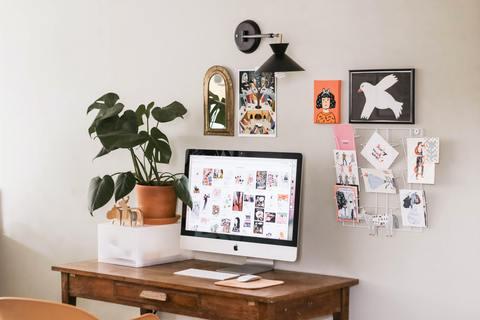 Photo of artwork around desk