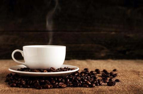 Coffee mug and beans
