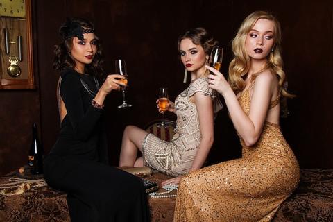 Three women dressed up