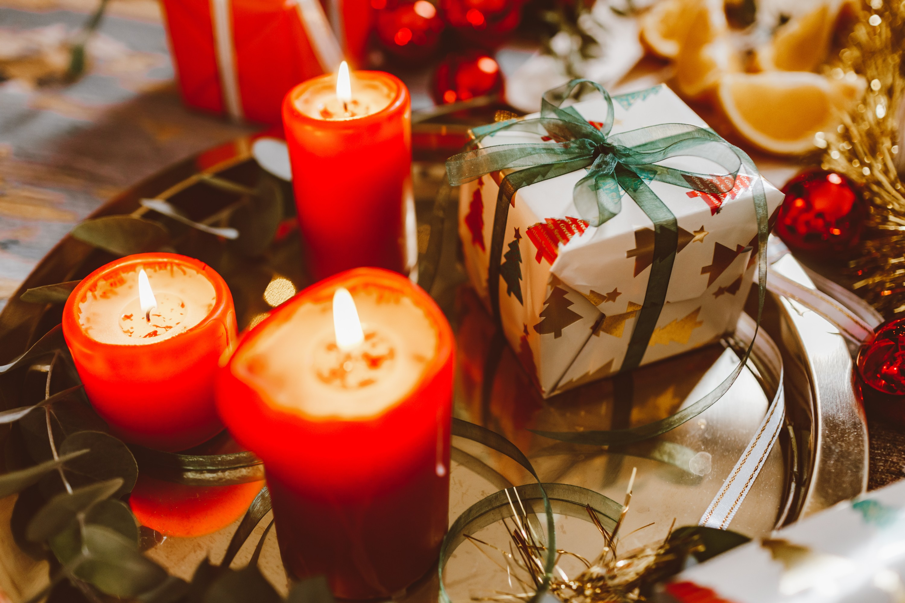 Candles and Christmas presents