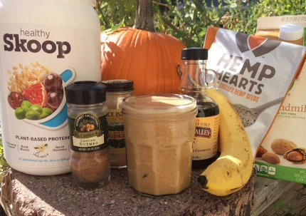 pumpking smoothie ingredients laid out on table