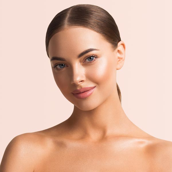 A beautiful woman with wrinkle-free face due to botox.