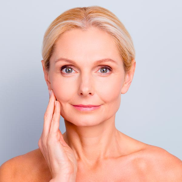 A mature woman with radiant young skin.