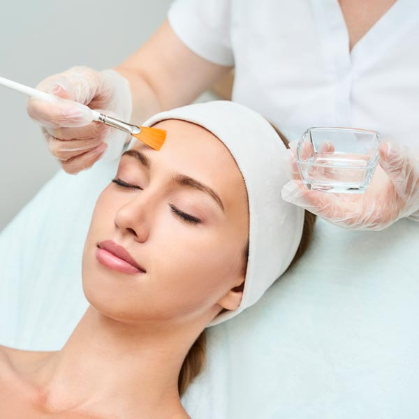 A chemical peel applied on a woman's face in Chandler.