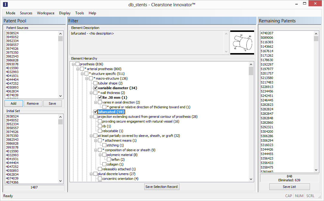 A screenshot of the Innovator Search Interface.
