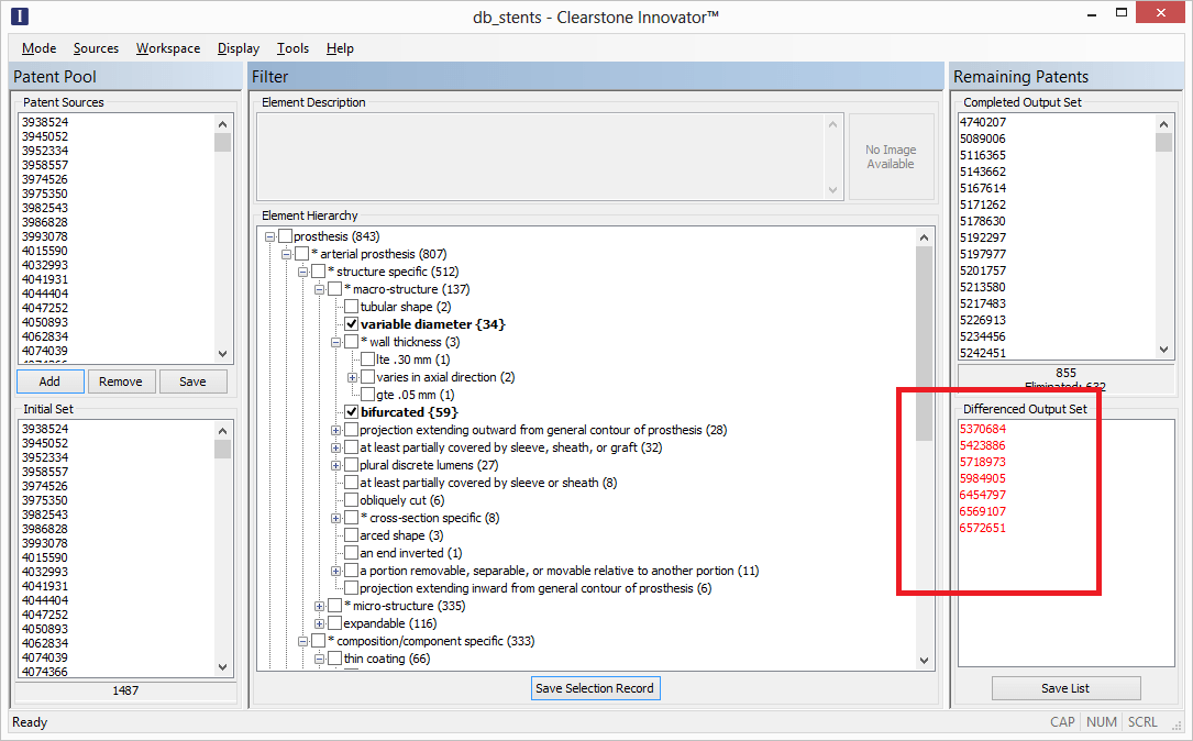"""FIGURE 2: CLEARSTONE INNOVATOR – """"DIFFERENCED OUTPUT SET"""" SHOWS LIST OF PATENTS THAT MAY BE INFRINGED SOLELY AS A RESULT OF A MODIFICATION TO A PRODUCT"""