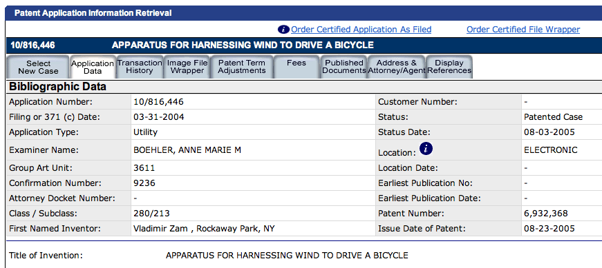 APPLICATION DATA TAB FOR '368 PATENT