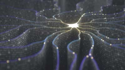 a spiderweb of data lines eminating from a bright central core