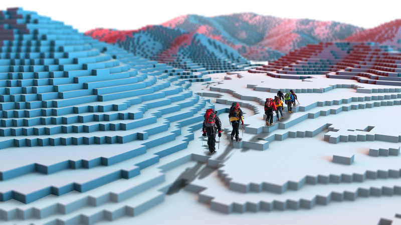 hikers walking over a stylized block snow landscape, similar to minecraft
