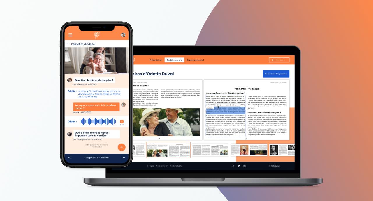 Aperçu des écrans du site web de présentation de l'application mobile Linous