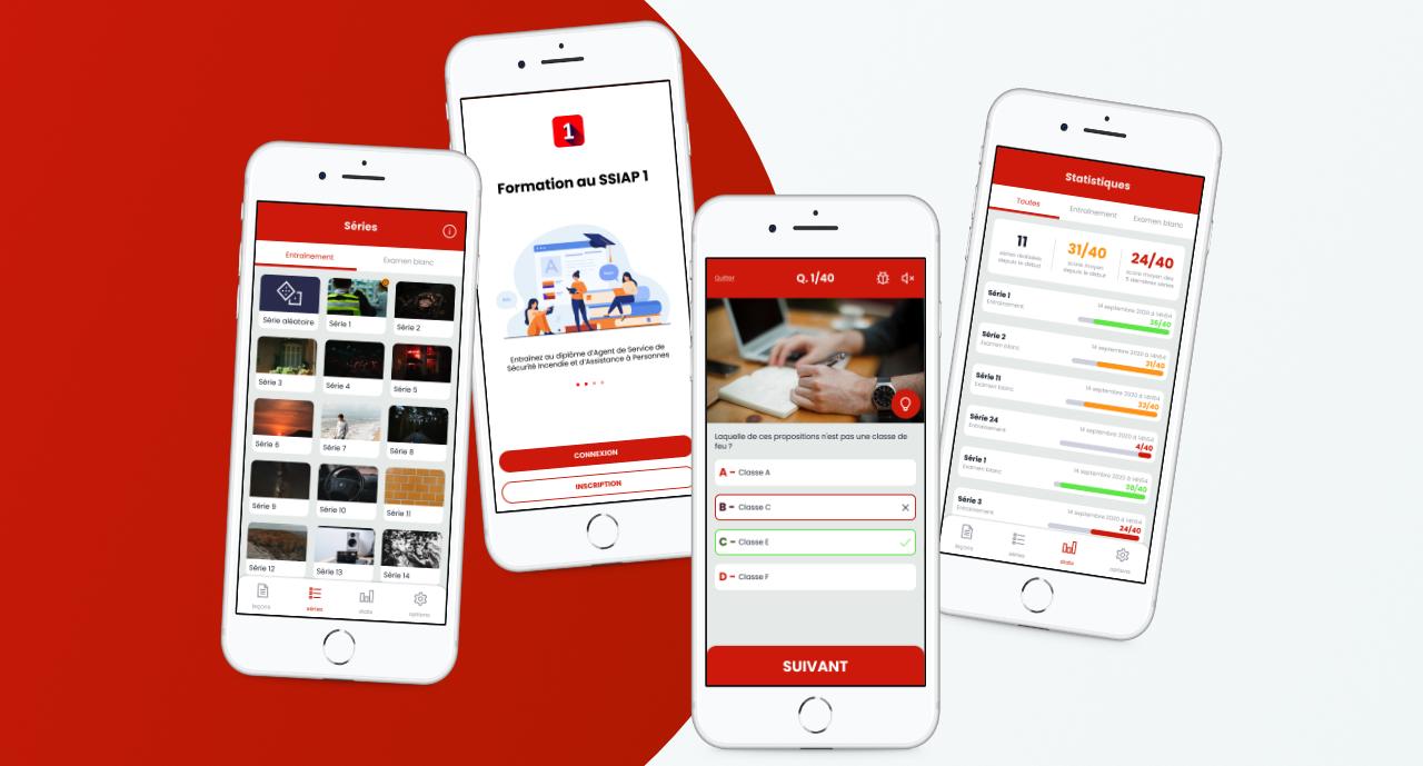 Aperçu des écrans de l'application mobile de formation Bonne Réponse