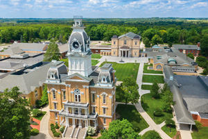 An aerial shot of Hillsdale College