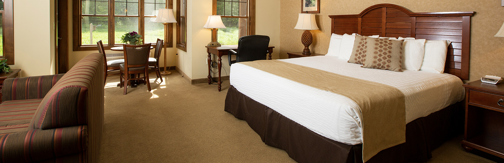 An interior of Rockwell Lodge guest room
