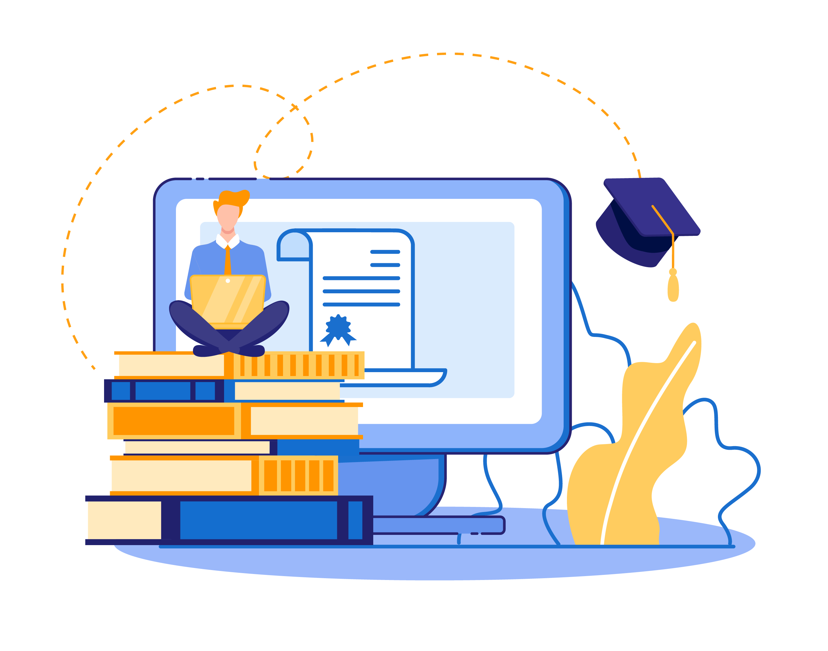 a stack of books, diploma, graduation hat, and computer