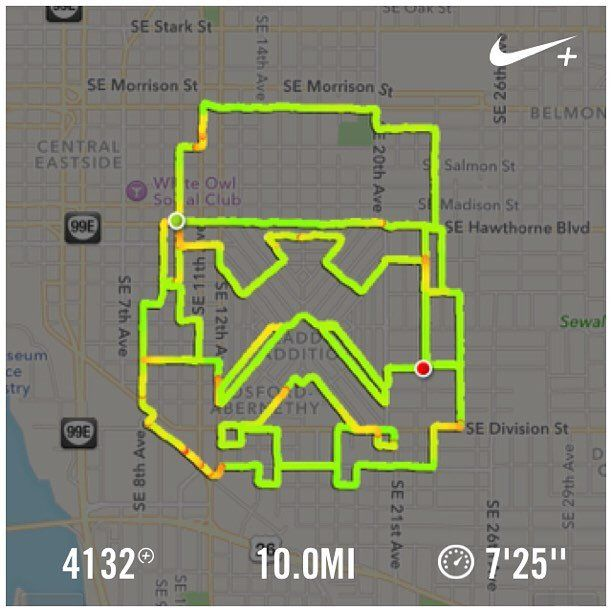 A running route created on the Nike+ app