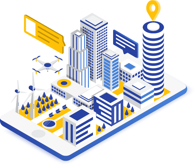 a smart city with connected grid, buildings, and drone