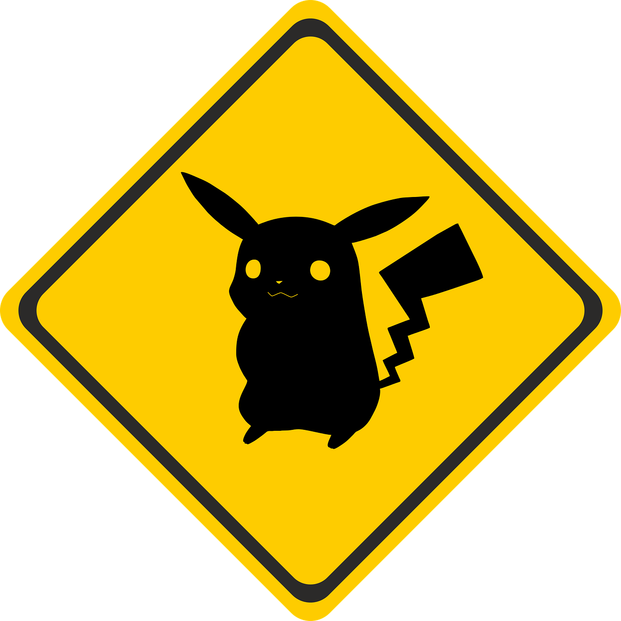 A Pokemon on a street sign