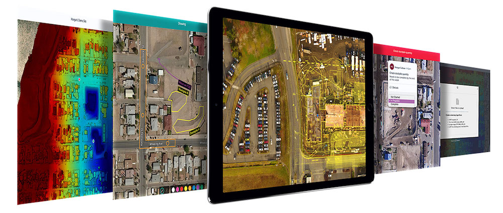 Multiple screens showing Unearth geospatial workflows