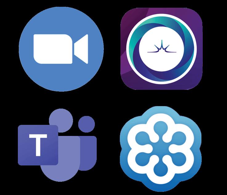 Four virtual event platform logos