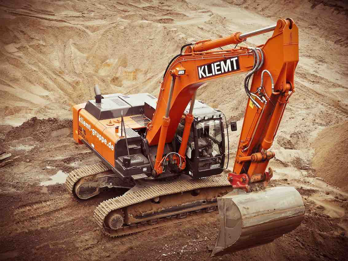aerial photo of an excavator